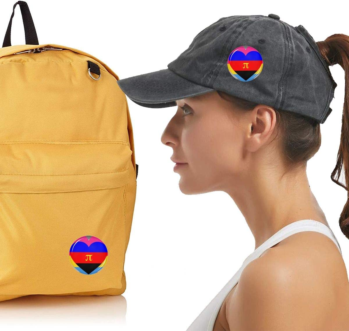 Demigirl Pansexual Polyamory Pride Flag Round Brooch Badge Pins For Women Men Girls T Shirt Bag Backpacks Hat Accessories
