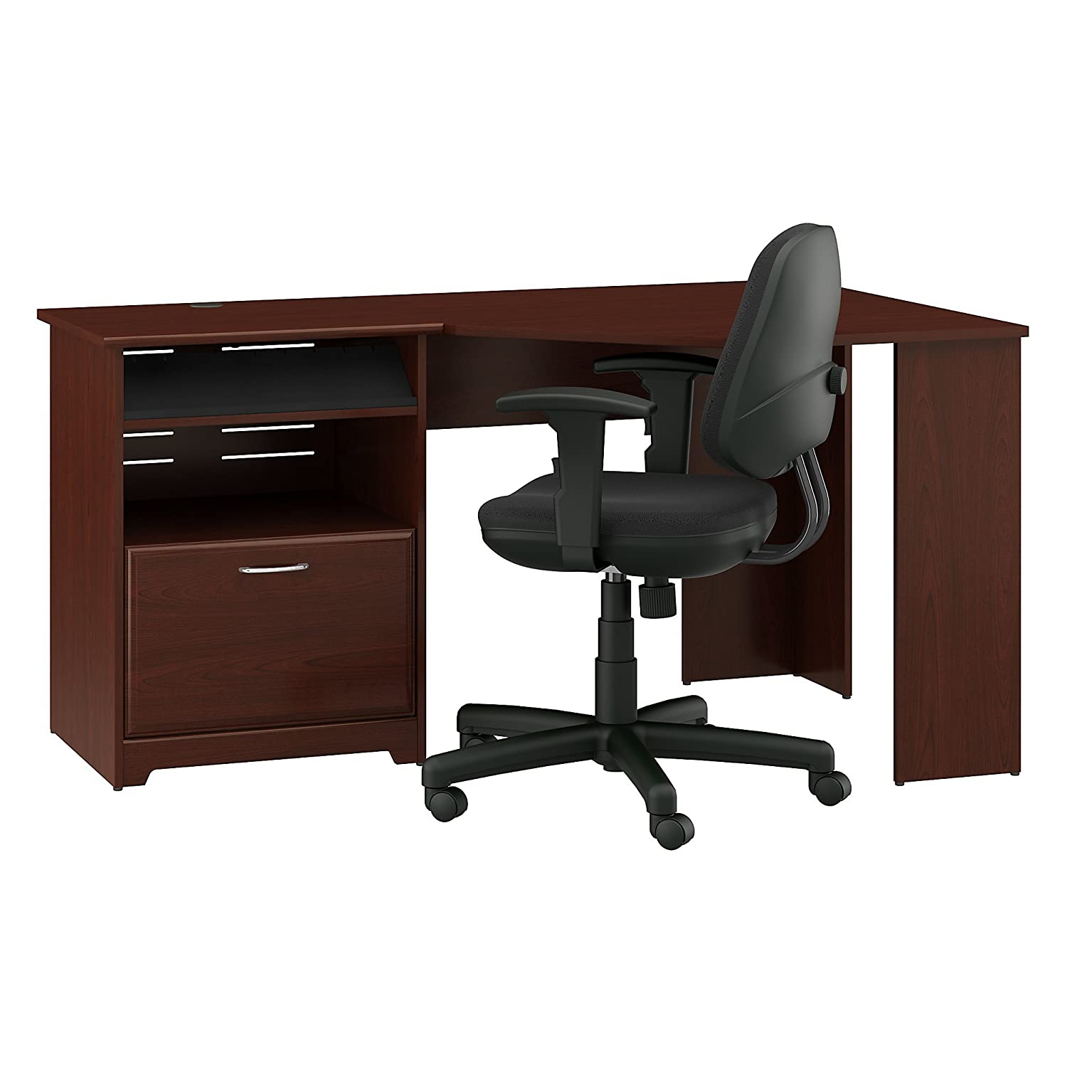 Bush Furniture Cabot Corner Desk and Office Chair in Harvest Cherry