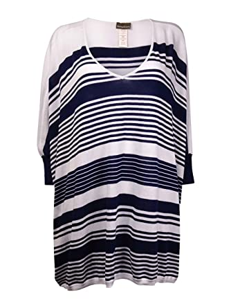 98515cccf3 Tommy Bahama Women's High Low Striped Beach Sweater Cover-Up, Mare Navy/ White MD (US 10-12) at Amazon Women's Clothing store: