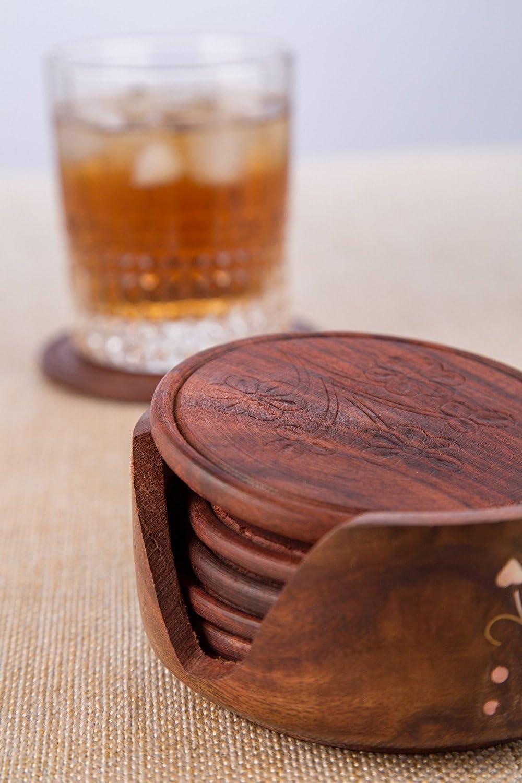 Glas Stein Tabellen perfekte Untersetzer passt jeder Gr/ö/ße von Trinkgl/äsern. Marmor Speckstein WhopperIndia Drink Coasters Set von 6 Tabletop Schutz f/ür Jede Tabelle Typ Granit Sandstein Holz