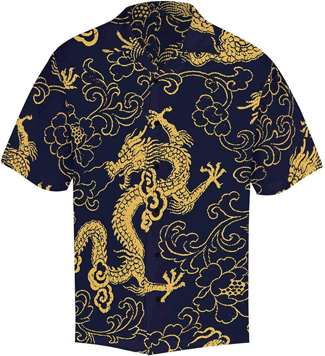 oriental dragon Chinese script classic button up shirt size M