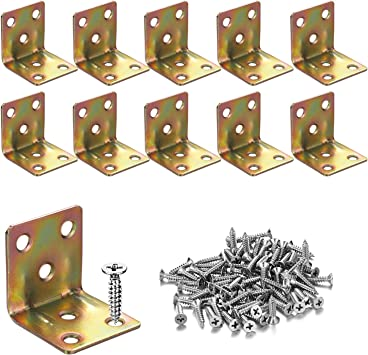10x Stainless Steel L Shape 90 ° Right Angle Bracket Corner Brace Joint Support