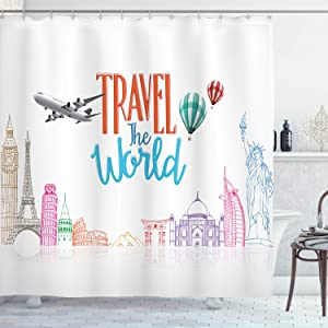"""Ambesonne Saying Shower Curtain, Travel The World Lettering with Around World Landmarks Balloons Work of Art Image, Cloth Fabric Bathroom Decor Set with Hooks, 75"""" Long, White Red"""
