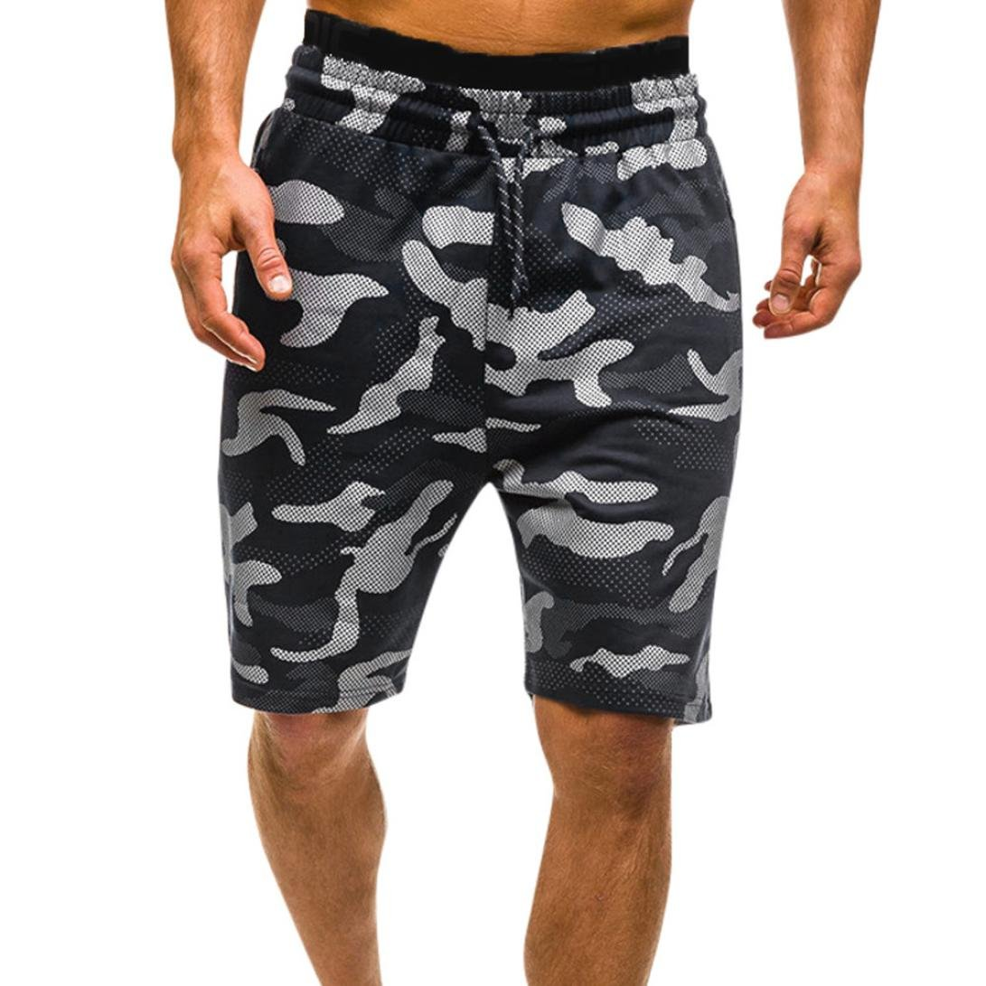 Hattfart Men's Casual Loose Fit Cotton Tactical Camouflage Cargo Shorts with Pockets (Black, L)