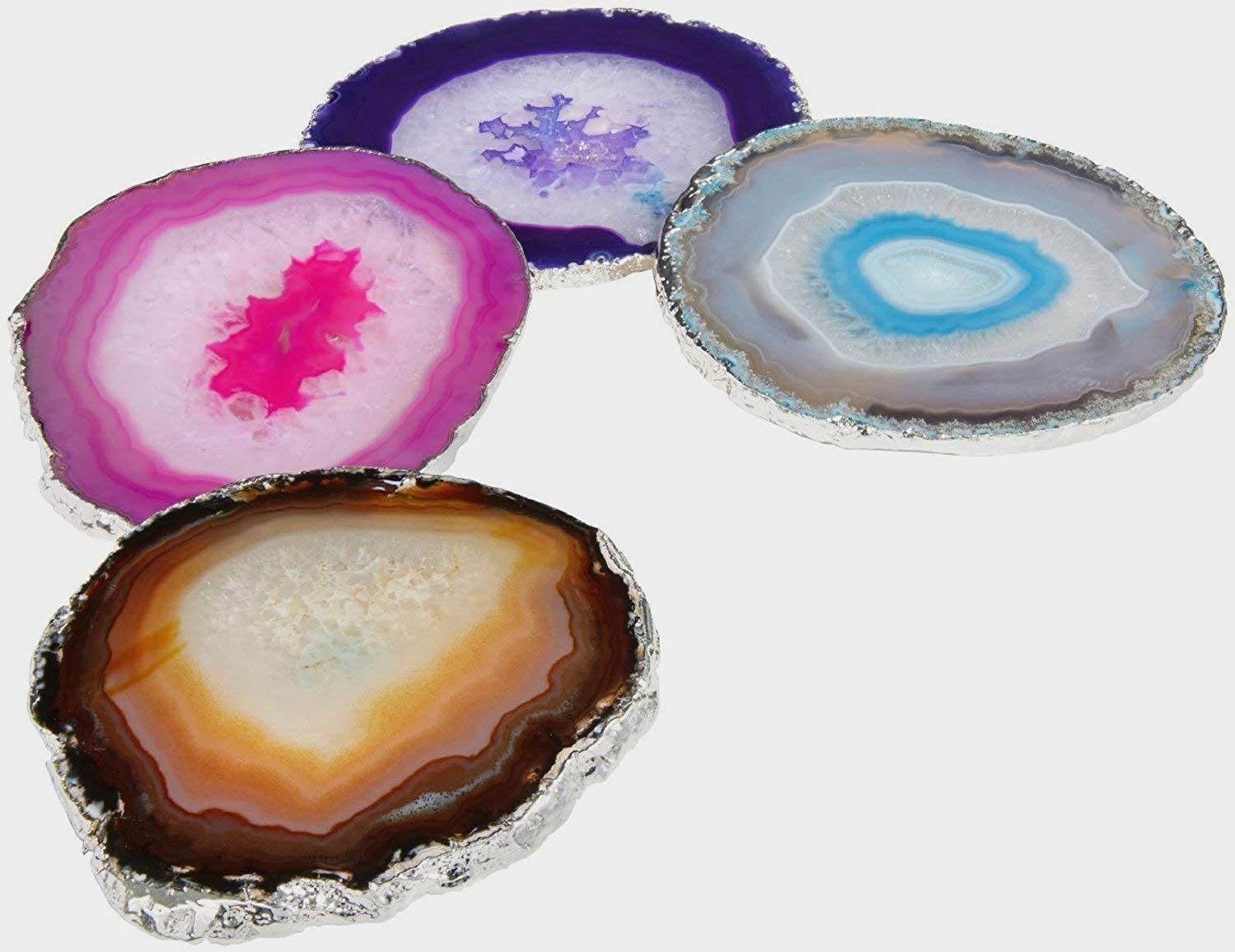 Yogavni Natural Agate Coasters with Rubber Bumpers - AS103, Large (4-5 inch), Assorted Colors (4 pcs)