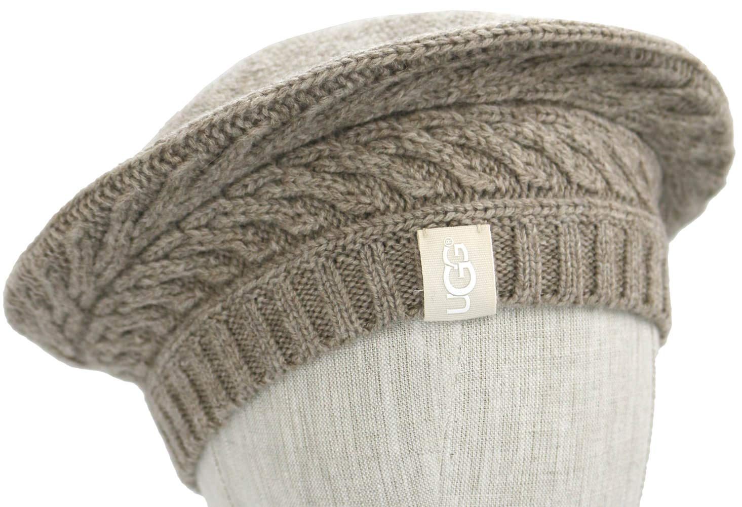 UGG Womens Cable Beret in Stone Heather