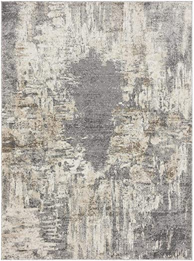 Luxe Weavers Euston Gray 8 x 10 Abstract Modern Area Rug