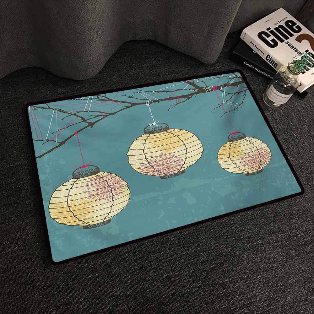HCCJLCKS Welcome Door mat Lantern Three Paper Lanterns Hanging on Branches Lighting Fixture Source Lamp Boho Super Absorbent mud W31 xL47 Teal Pale Yellow