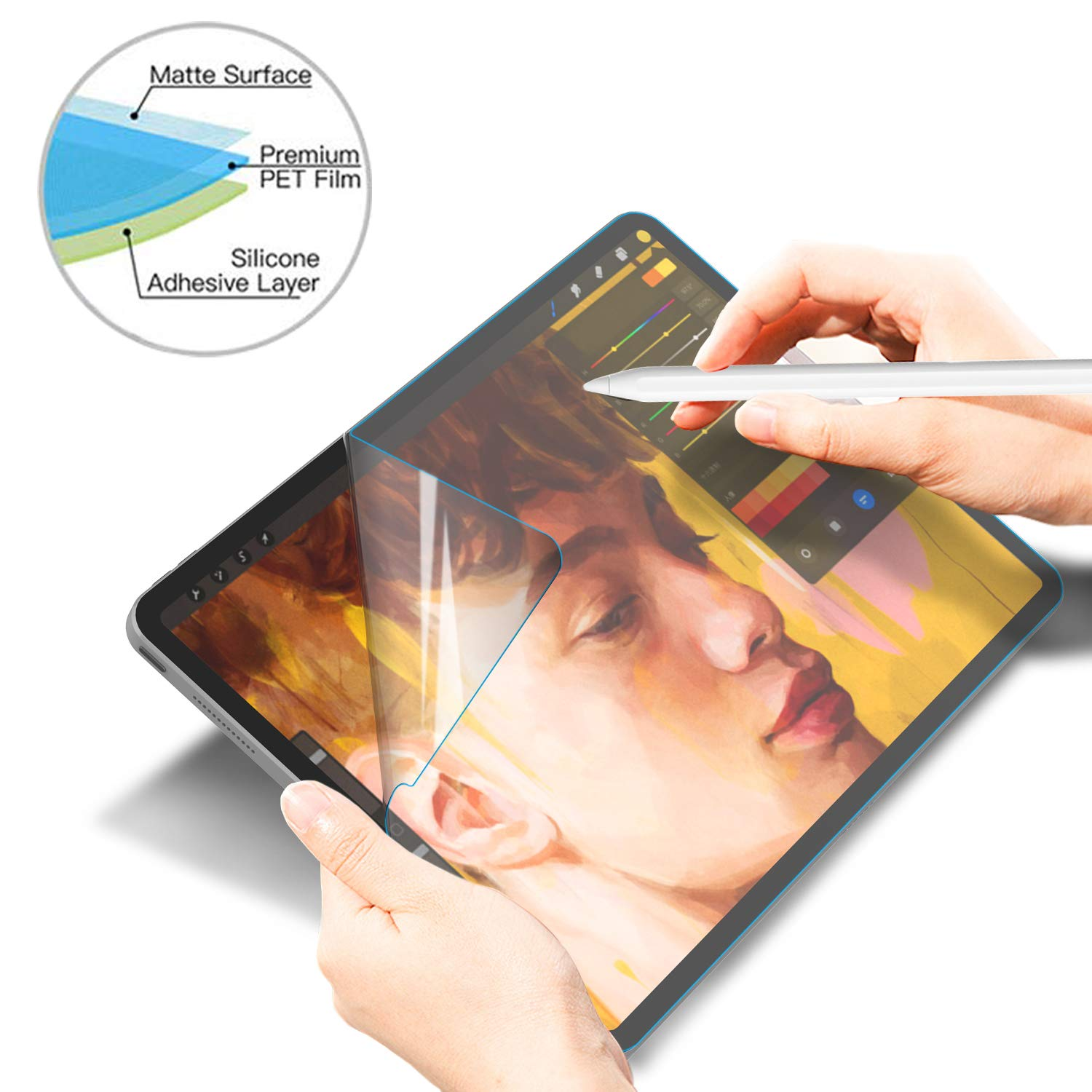 Soke iPad Pro 11 Screen Protector Paper-Like,[Anti Glare][Scratch Resistant][Paperlike Film Writing][Apple Pencil Compatible] High Touch Sensitivity for Apple iPad Pro 11 Inch 2018