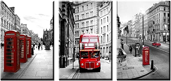HERONEAR 3 Panels Black White London Street Red Bus Wall Art Picture on Canvas Painting