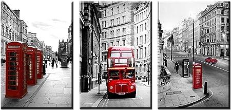 London Double Decker Red Bus 3D Magic Window Wall Art Self Adhesive Vinyl V3*
