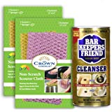 BAR KEEPERS FRIEND Soft Cleanser Liquid (13 OZ) with Non Scratch Scouring Scrubber Kit (5Pcs) | Best Stainless Steel…