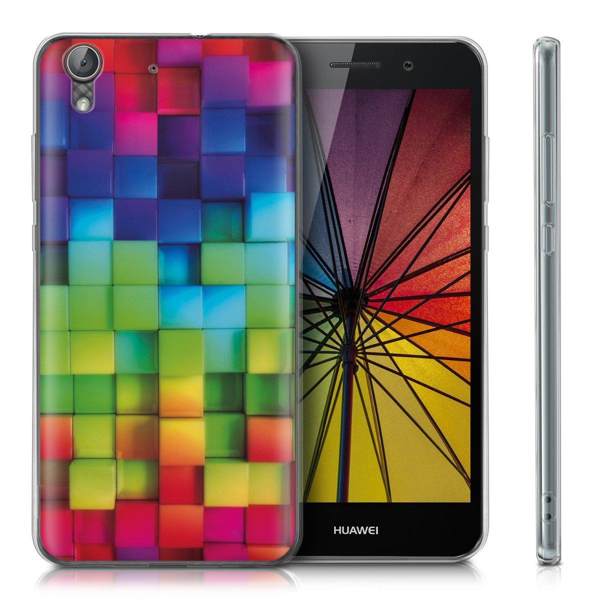 kwmobile Funda para Huawei Y6 II - Carcasa de TPU para móvil y diseño de Cubos de Colores en Multicolor/Verde/Azul