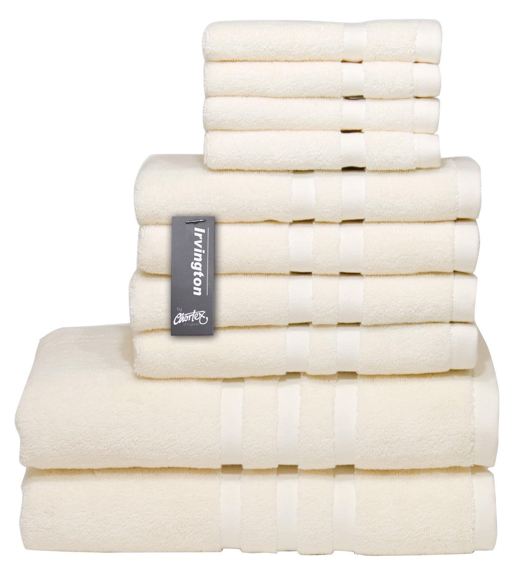 Chortex Luxury Turkish Cotton 10 Piece Set, Set of 10 Towels, Cream