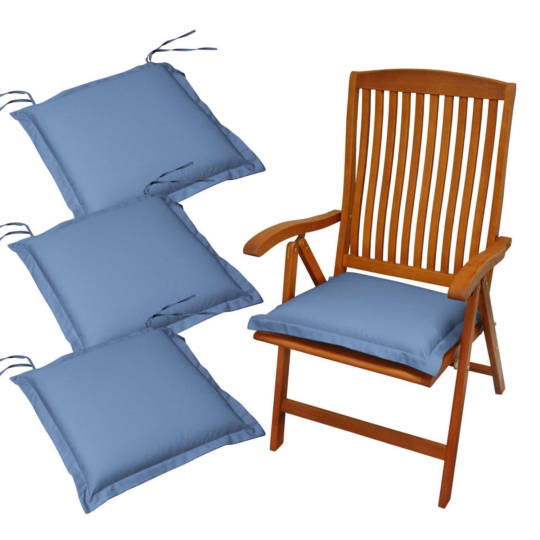 Indoba 4 x Sitzkissen Premium Polsterauflage Blau