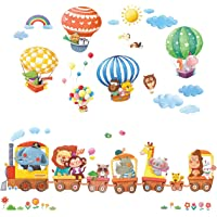 DECOWALL DA-1406 Animal Train and Hot Air Balloons Kids Wall Stickers Wall Decals Peel and Stick Removable Wall Stickers…