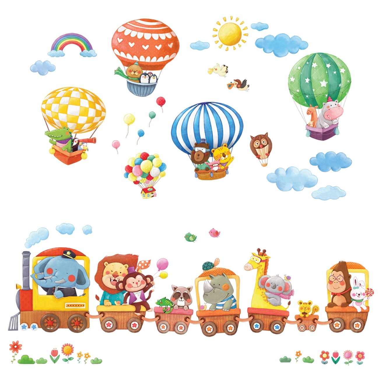 Decowall DA-1406 Animal Train & Hot Air Balloons Peel and Stick Nursery Kids Wall Decals Stickers