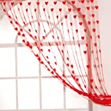 Handloomwala Heart Modern 2 Piece Polyester Normal Curtain - 7ft, Red