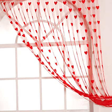 Handloomwala Heart Modern 2 Piece Polyester Normal Curtain - 7ft, Red