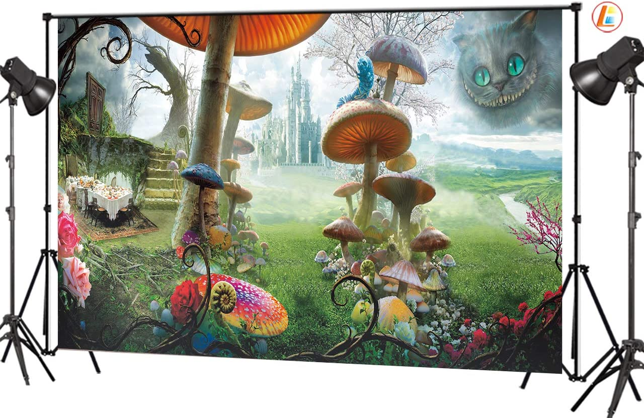 LB 9x6ft Fairy Tale Wonderland Backdrop Forest Castle Cartoon World Mushroom Animal Cat Backdrops for Photography Kids Baby Shower Birthday Party Photo Booth Props
