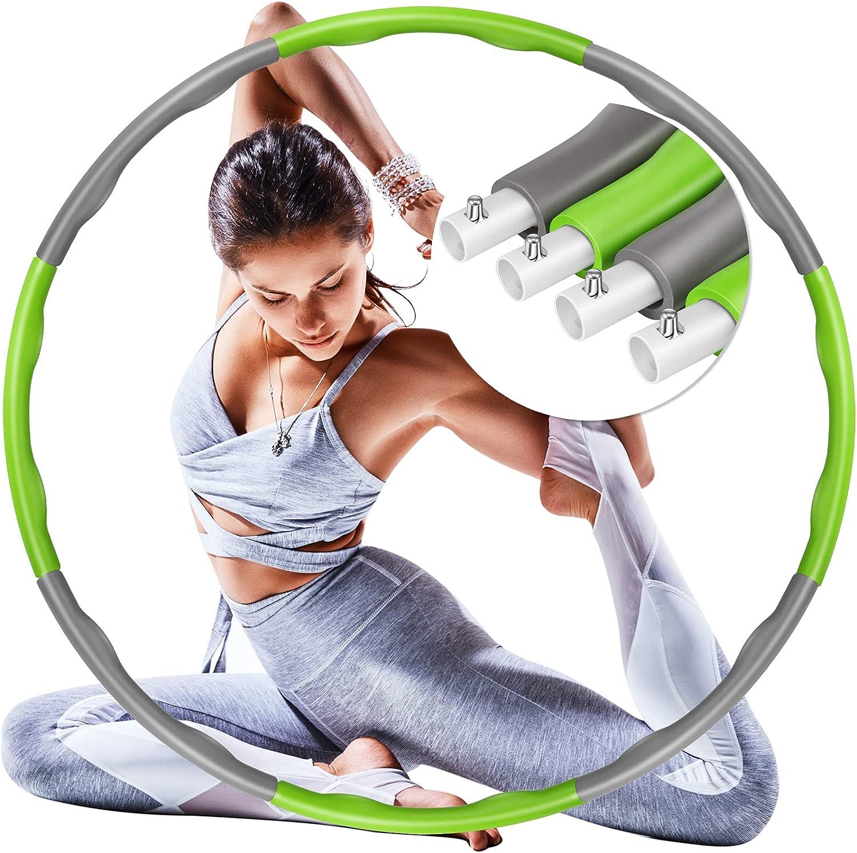 Foxmog Hoola Hoop Reifen Erwachsene – Hoola Hoop Reifen Fitness Erwachsene Anfänger Kinder Fitness Hoola Hoop Einstellbare Größe für Bodybuilding Gewichtsverlust