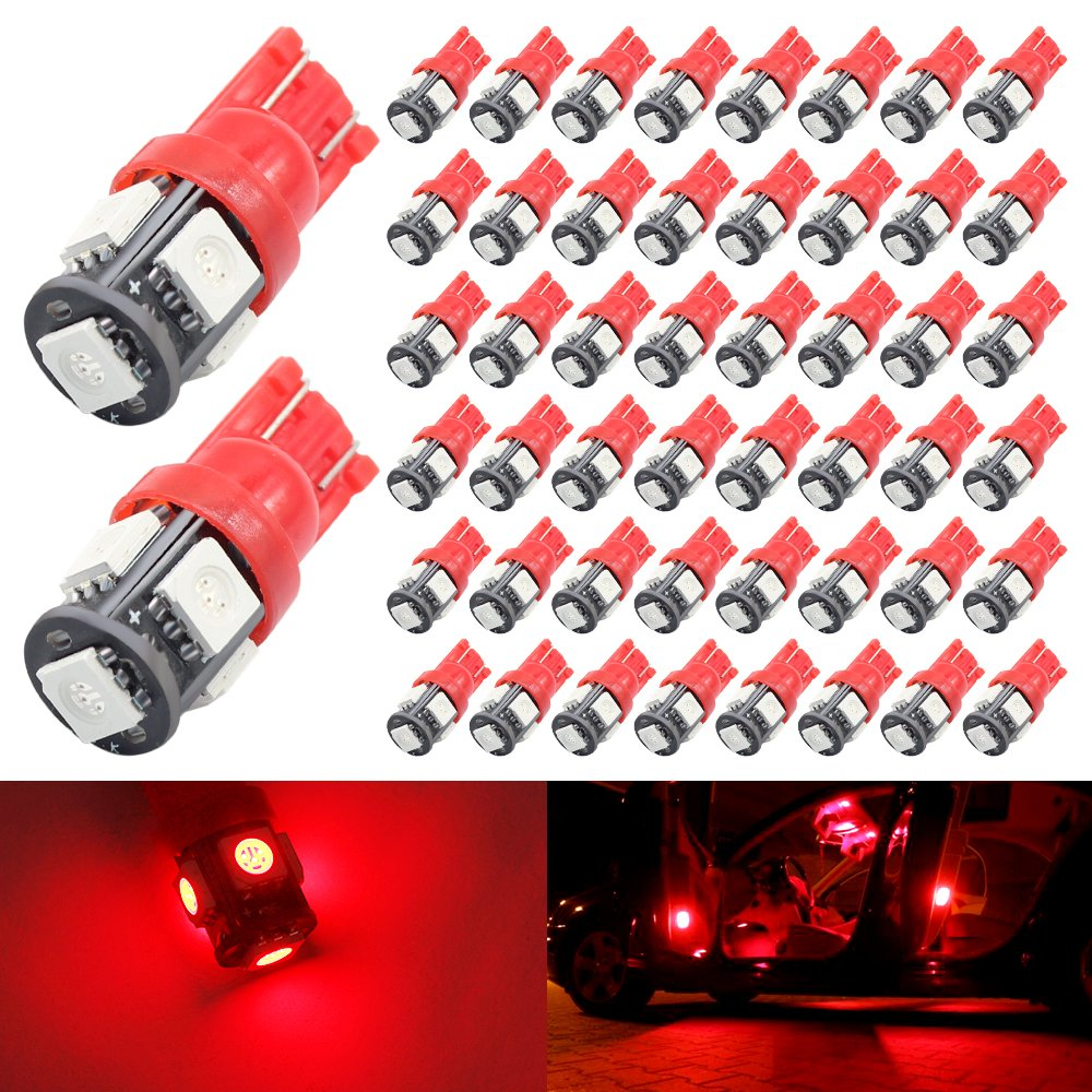 Boodled 50-Pack 194 192 168 147 158 2825 Blue LED Light 12V, 120LM 6000k Car Interior and Exterior T10 5SMD 5050 Chips Replacement For W5W 168 2825 Map Dome Courtesy License Plate Side Marker Light (50xH-T10-5050-5-B) Ltd