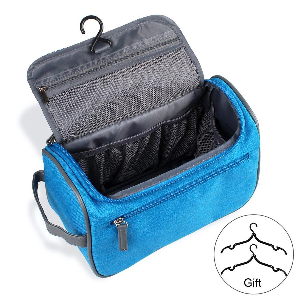 Travel Toiletry Bag Organizer, Jiemei Hanging Wash Bag Shaving Dopp Kit for Men Women, 2 Pack Portable Coat Hangers as GIFT (SkyBlue)