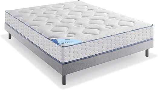 Dunlopillo Délicieuse Conjunto colchón y somier + Patas, Blanco y Gris