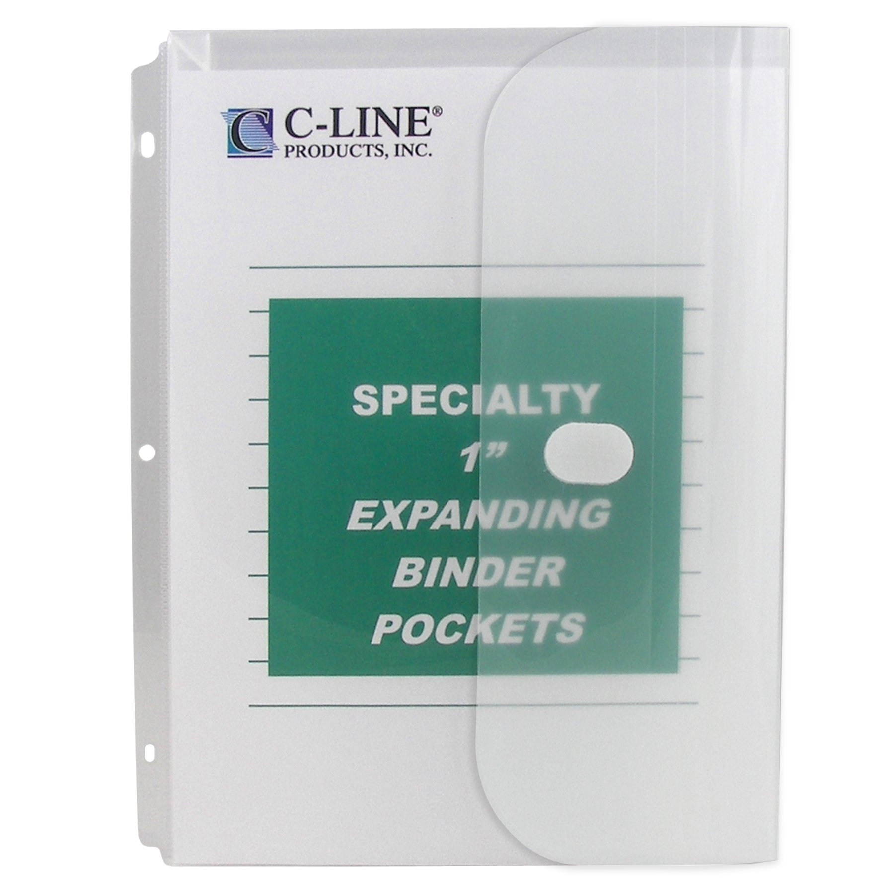 C-Line Biodegradable Acid-Free Poly Binder Pocket with 1-Inch Gusset, Side Loading, Clear, 10 Pockets per Pack (33747)