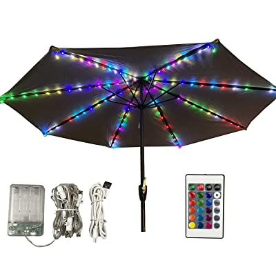 Patio Umbrella Lights, Outdoor Table Umbrella String Lights with Remote&Timer, 2 in1Battery und USB Powered16 Color RGB Lighting IP67 Waterproof for Beach Pool Wedding Christmas : Garden & Outdoor