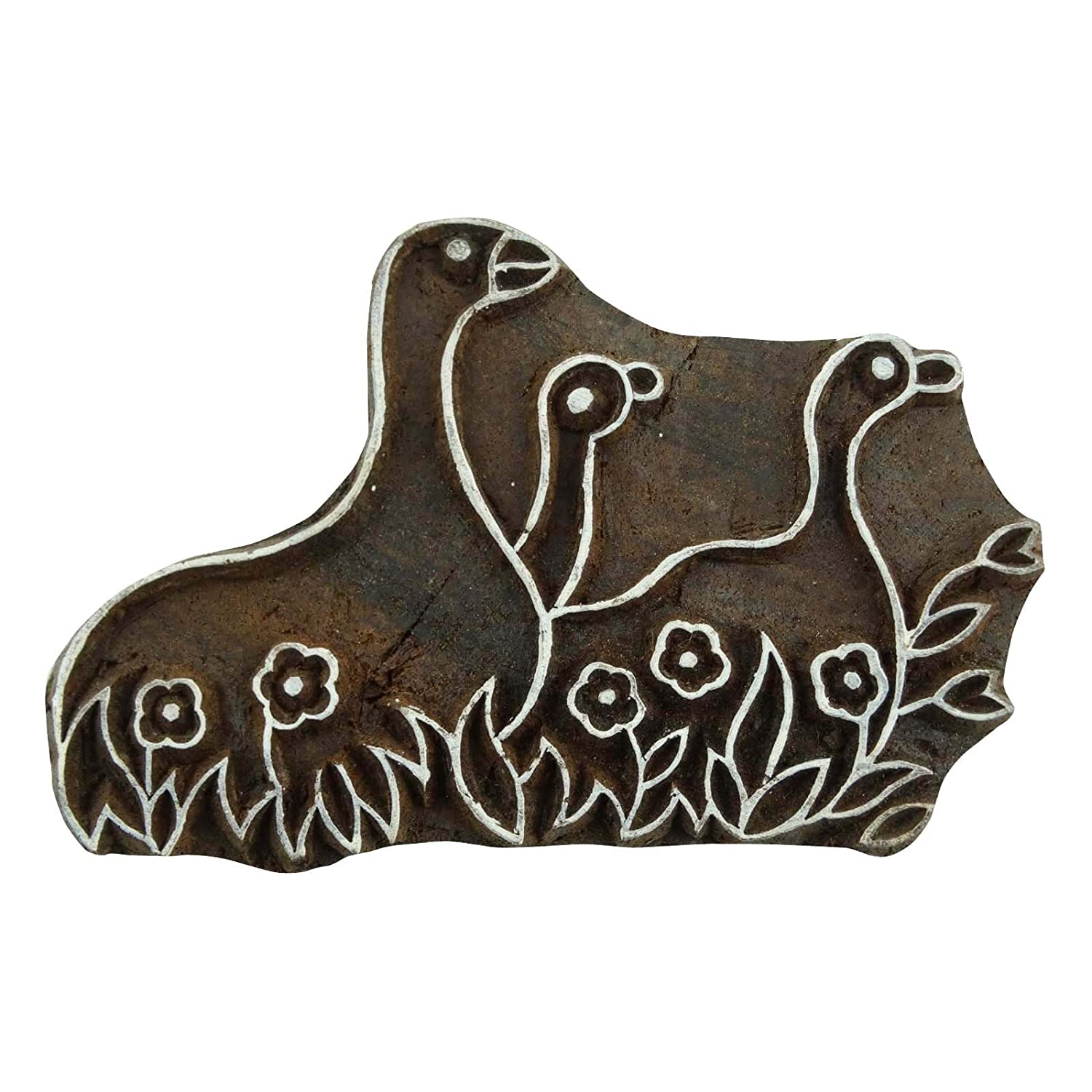 Decorative Wood Indian Bird Stamps Brown Wooden Stamp Hand Carved Printing Block Indianbeautifulart