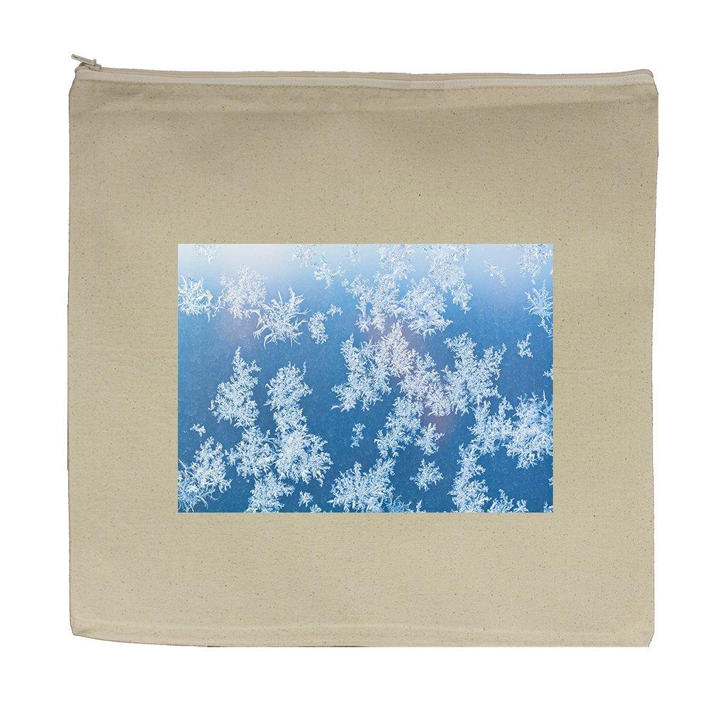Canvas Zipper Pouch Tote Bag 5.5''X7.5'' Sunbeam Spots Frosty Pattern Window Pane