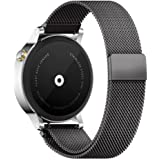 18mm Reloj Bandas Pinhen Reemplazo liberaci󮠲ᰩda Correa Banda de Milanese bucle magn鴩co de acero inoxidable para Huawei Gear S2 MOTO 360 Pebble Time LG G Watch Smart Watch (18MM Black)