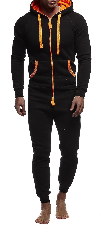 LEIF NELSON Herren Overall Jumpsuit Onesie Trainingsanzug Jogginghose Fitness Bekleidung LN8154 8154-GR-L