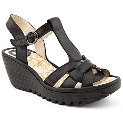 62b8af9583a9 Ladies Fly London Yews Black Wedge Sandals Size 8  Amazon.co.uk ...