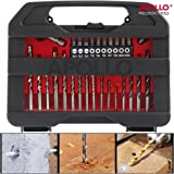 Apollo 30 Piece DIY Mixed Drill Bit and Screwdriver Bit Set – Includes Most Popular Metric sized Drill Bits used for working with Steel, Wood & Masonry, Includes Counter-Sink and 10 most common Screwdriver Bits. In Compact Storage Box