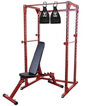 Best Fitness Bfpr100 Power Rack With Folding Bench 300lb Weight