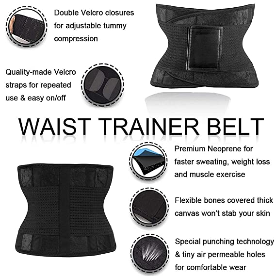4f534c9cac698 Waist Trainer Trimmer Belt for Women Weight Loss Tummy Control Shapewear  Sauna Girdle Back Support Slimming Wraps  Amazon.co.uk  Clothing