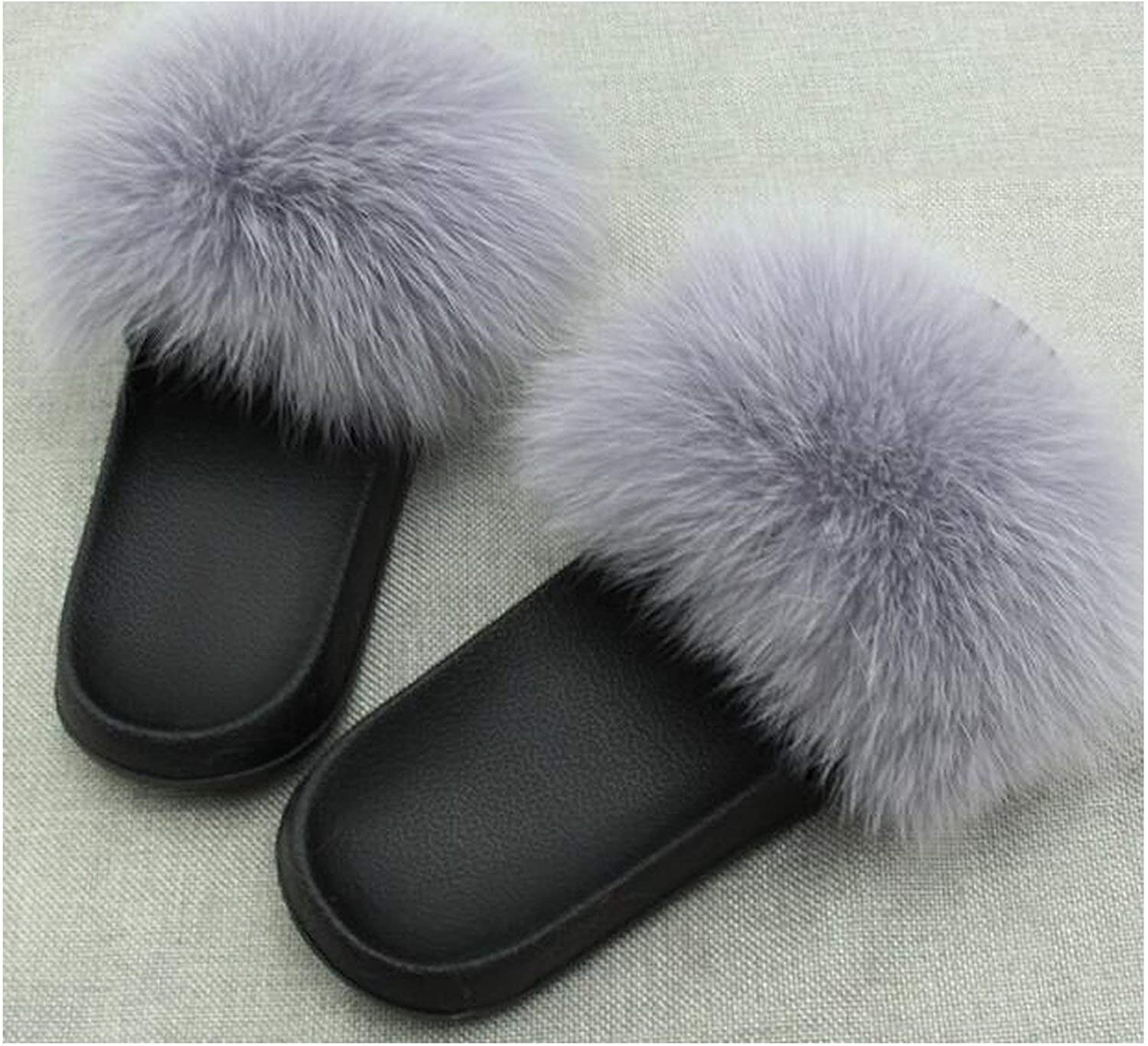 Fox Fur Slippers Slides Shoes Furry Fluffy Slipper Flip Flops Sandals Sliders Drag Sandal,Grey,6