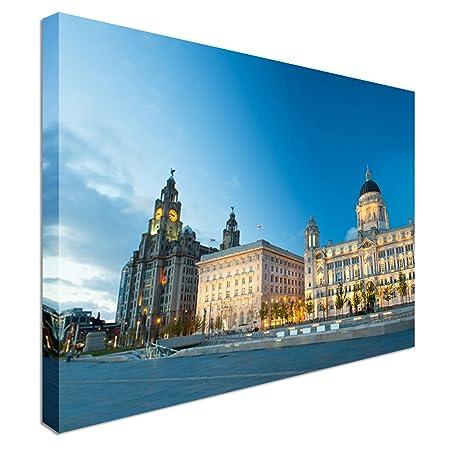 Liverpool city centre - Three Graces 20x30 inches | Canvas Art Cheap ...