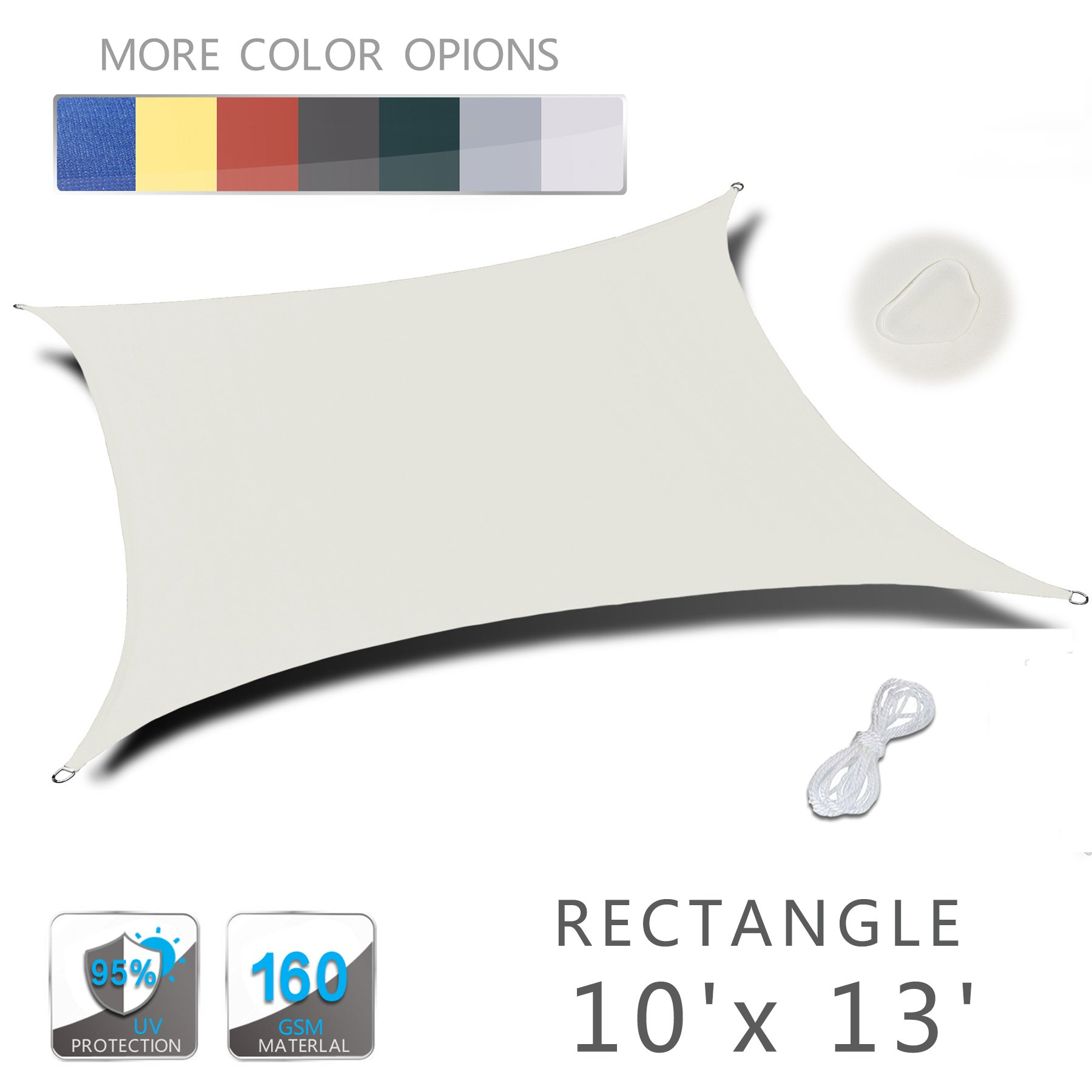 Love Story 10'x 13' Rectangle Beige Waterproof Sun Shade Sail Perfect for Outdoor Patio Garden