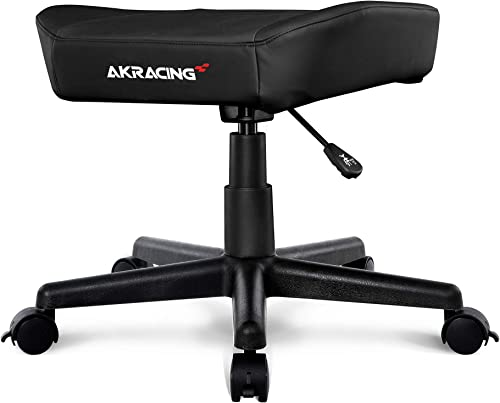 AKRacing Footstool with PU Leather, Height Adjustable with Wheels, Ottoman Foot Rest for Office and Gaming Chairs – PC Mac Linux