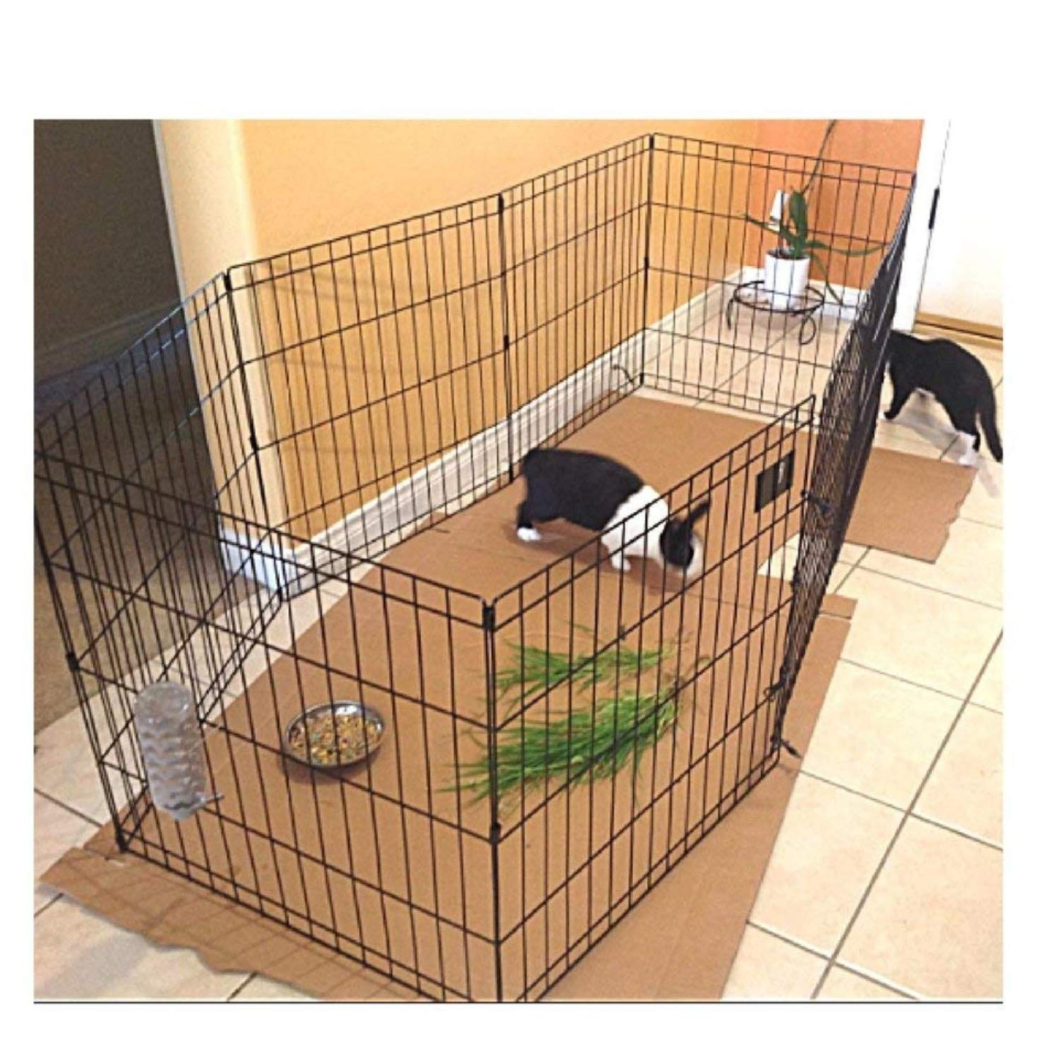 Bunny Rabbit Pen Exercise Indoor 30-Inch with Door House Pet Dog 8 Panel Gate Yard Enclosure X Pen Xpen Fence Playpen & eBook by OISTRIA by Bunny Rabbit