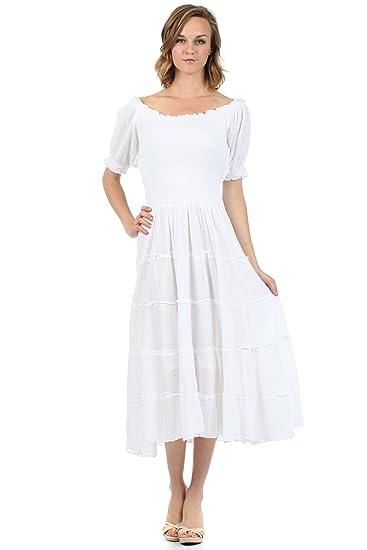 e55c6d8b0eb 3702-Sakkas Robe Mi-Longue Coton Crêpe Smocké Paysan Gitane Renaissance  Boho-Blanc