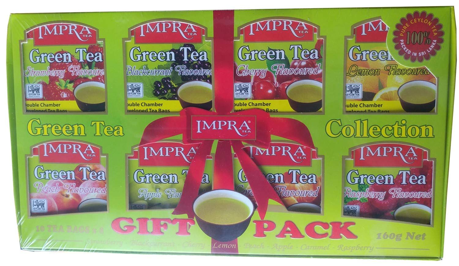 Impra Flavored Green Tea Gift Pack (8 Flavors), 80-count Tea Bags