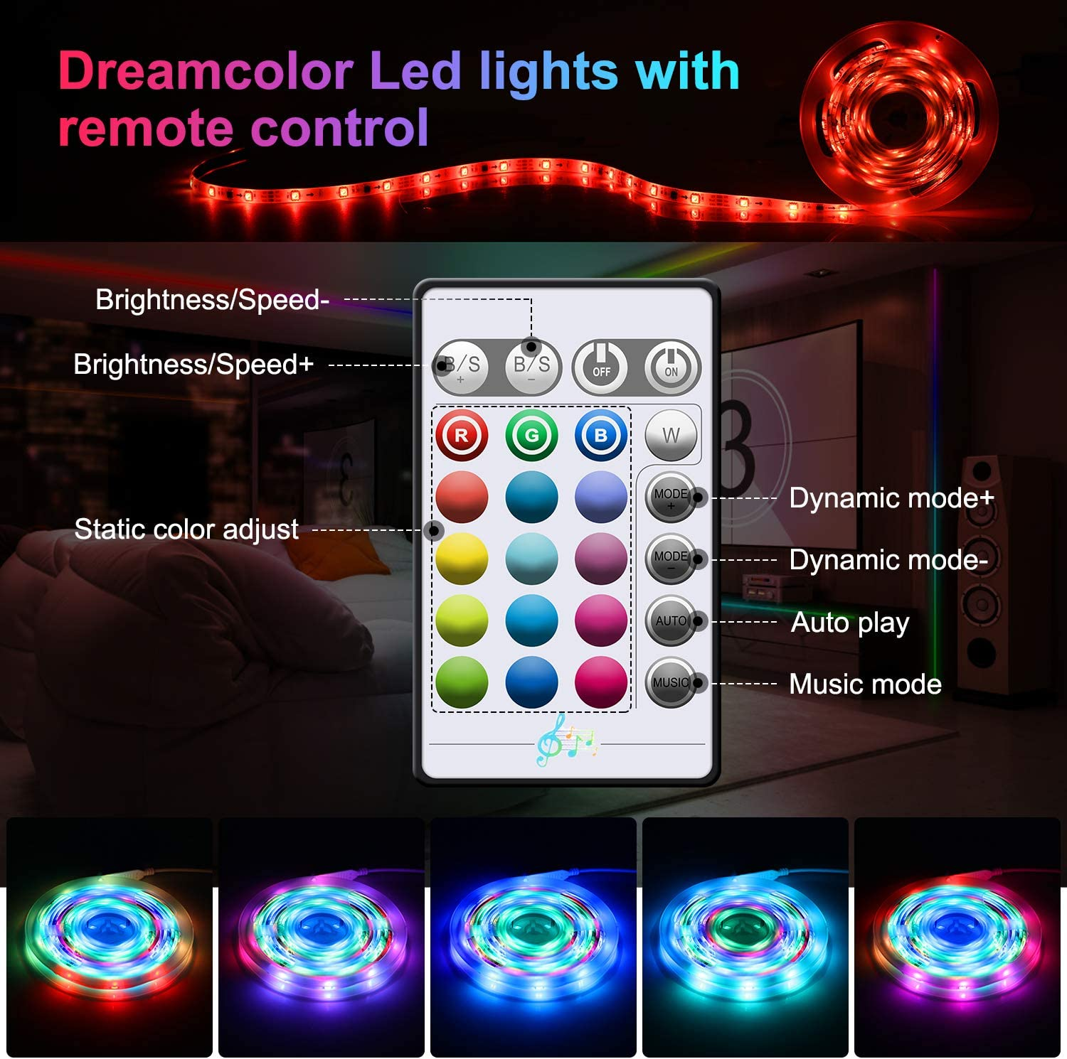 EWEIMA 20ft LED Mood Lights for Bedroom with Remote and IC Chips Bedroom Dreamcolor LED Strip Lights Music Sync Room Party Led Rope Lights Color Changing Light Strip with IP65 Waterproof for TV