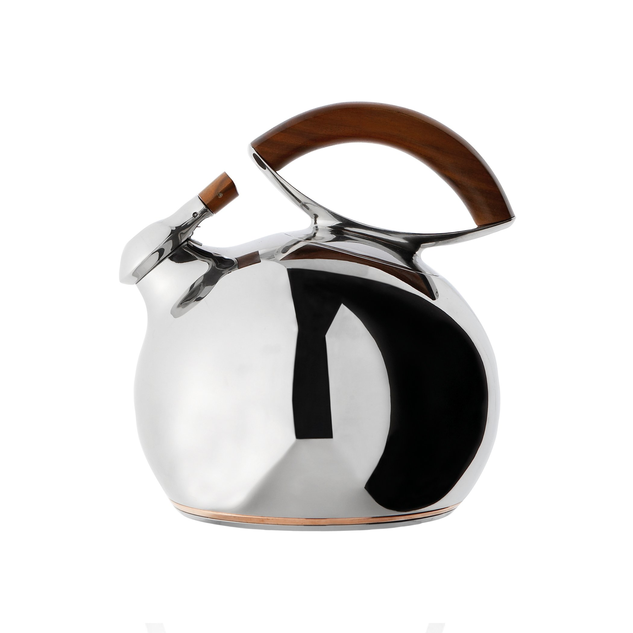 Nambè Bulbo Kettle, Stainless Steel and Wood