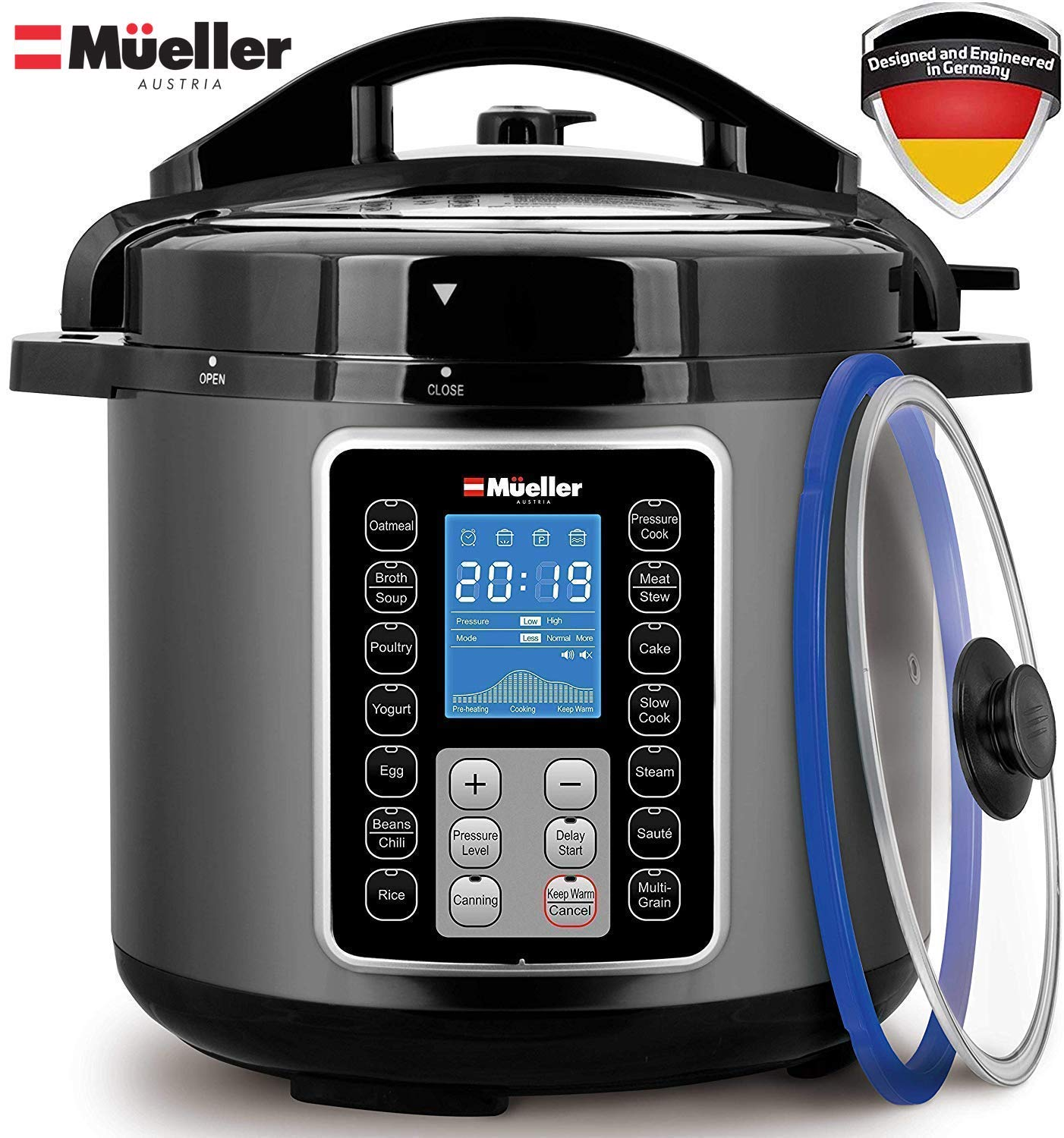 Mueller UltraPot 6Q Pressure Cooker Instant Crock 10 in 1 Hot Pot with German ThermaV Tech, Cook 2 Dishes at Once, BONUS Tempered Glass Lid incl, Saute, Steamer, Slow, Rice, Yogurt, Maker, Sterilizer by Mueller Austria