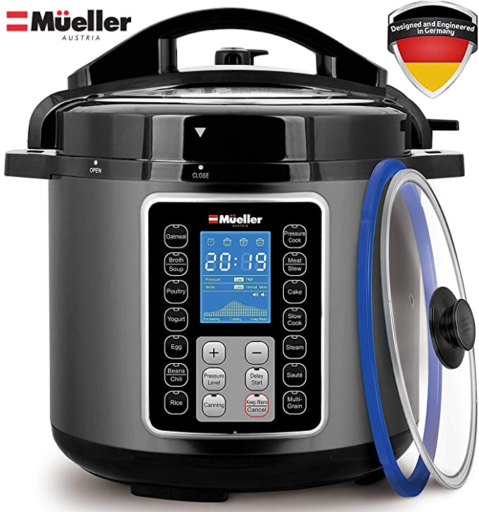 Mueller UltraPot 6Q Pressure Cooker Instant Crock 10 in 1 Hot Pot with German ThermaV Tech, Cook 2 Dishes at Once, BONUS Tempered Glass Lid incl, Saute, Steamer, Slow, Rice, Yogurt, Maker, Sterilizer best pressure cooker
