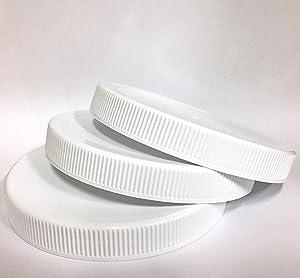 1 Gallon Fermentation Jar Replacement White Polypropylene Caps 110/400 (3, White Poly)
